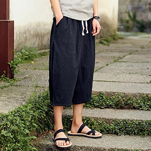 Rrive Men Breathable Loose Fit Linen Cozy High Rise Pants