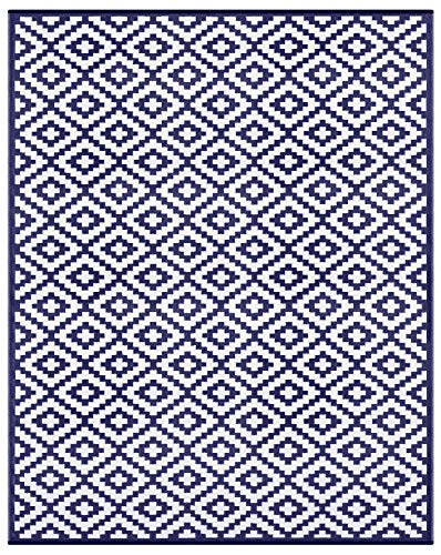 Green Decore Lightweight Outdoor Reversible Plastic Nirvana Navy Blue and White Rug (8 X 10, Navy/White) ()