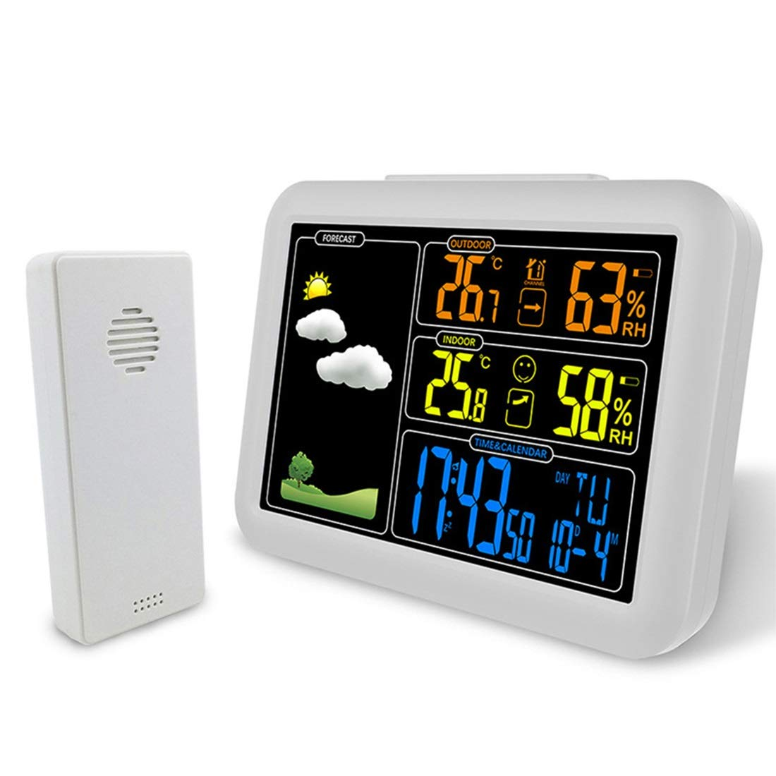 HXD Multi-Function Radio Wave Alarm Clock, LED Large Screen Electronic Weather Forecast Clock Temperature Humidity Snooze Clock by HXD