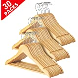 Yaheetech 30 Pack Wooden Clothes Hangers Coat Suit Garment Trousers