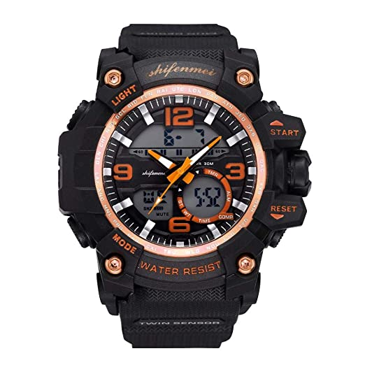 Anolog-Digital Stopwatches for Men DYTA LED Sport Wrist Watches 5ATM Water Resistant Outdoor Watch