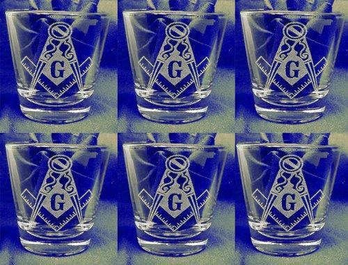 Mason/Masonic Set of 6 Shot Glasses Engraving Groomsman and Bridesmaid Gift.