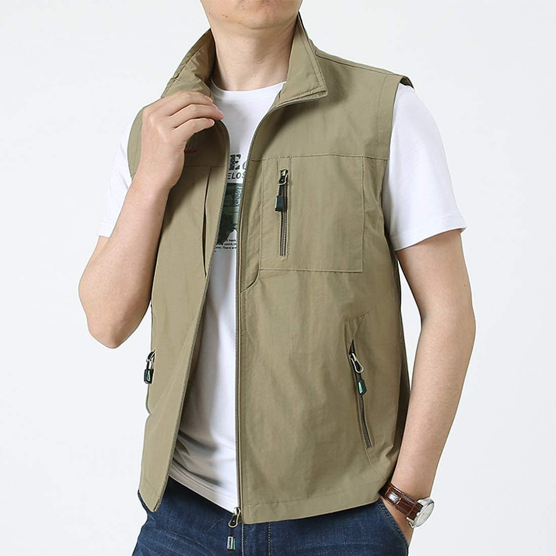 Panegy Herren Outdoor Weste Camping Vest Multi-Taschen Jacke Jagd Angeln Wandern wasserdichte Funktionsweste Farbe//Gr/ö/ße W/ählbar