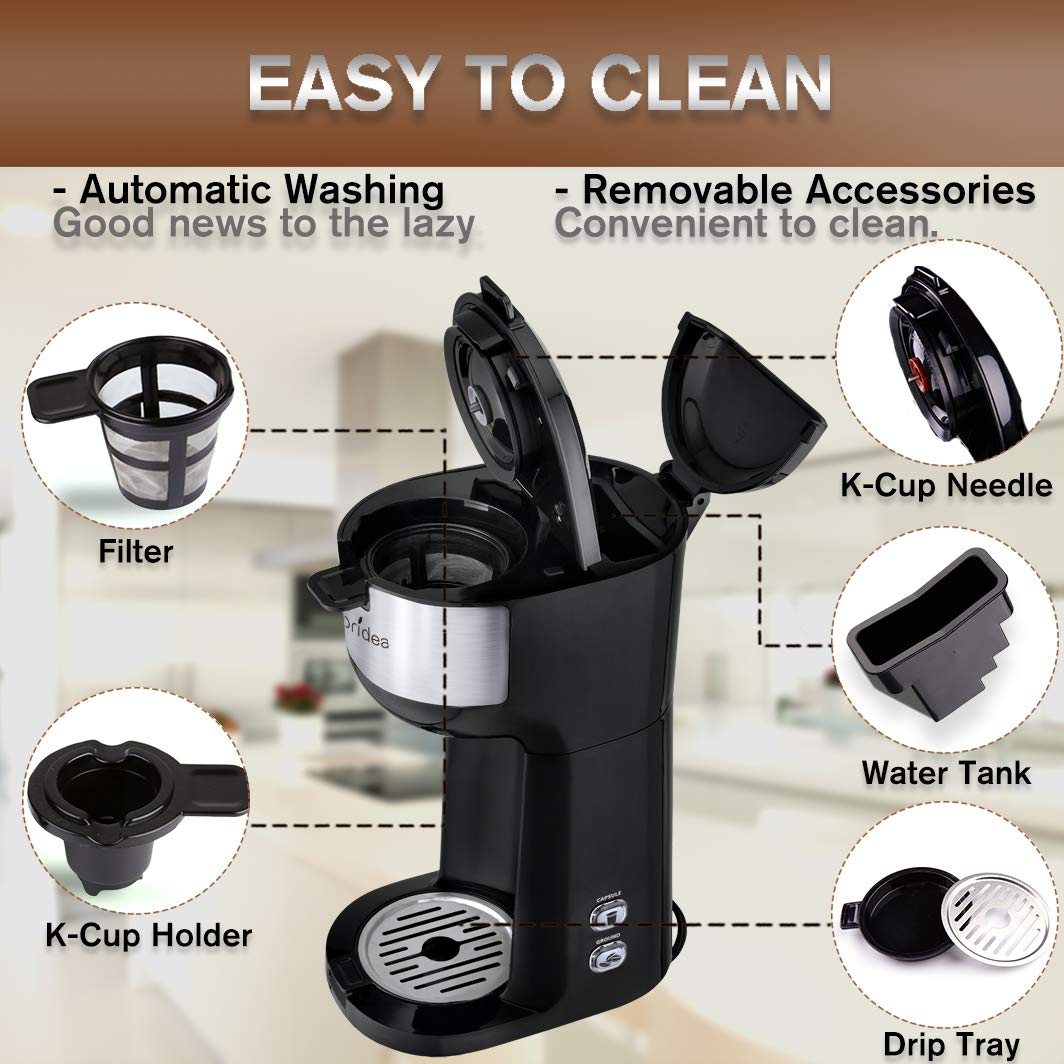 Single Serve Coffee Machine for K Cup Pod /& Ground Coffee Small and Portable Coffee Brewer with Brew Strength Control and Self Cleaning Function Classic Mini Coffee Pot for Individual Dorms Offices Coffee Maker