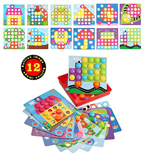 Mushroom Nails Button Art, Jigsaw Puzzle Creative Mosaic Pegboard, Early Learning Educational Toys Preschool Games for Children Kids Boys and (Mosaic Tray Puzzle)