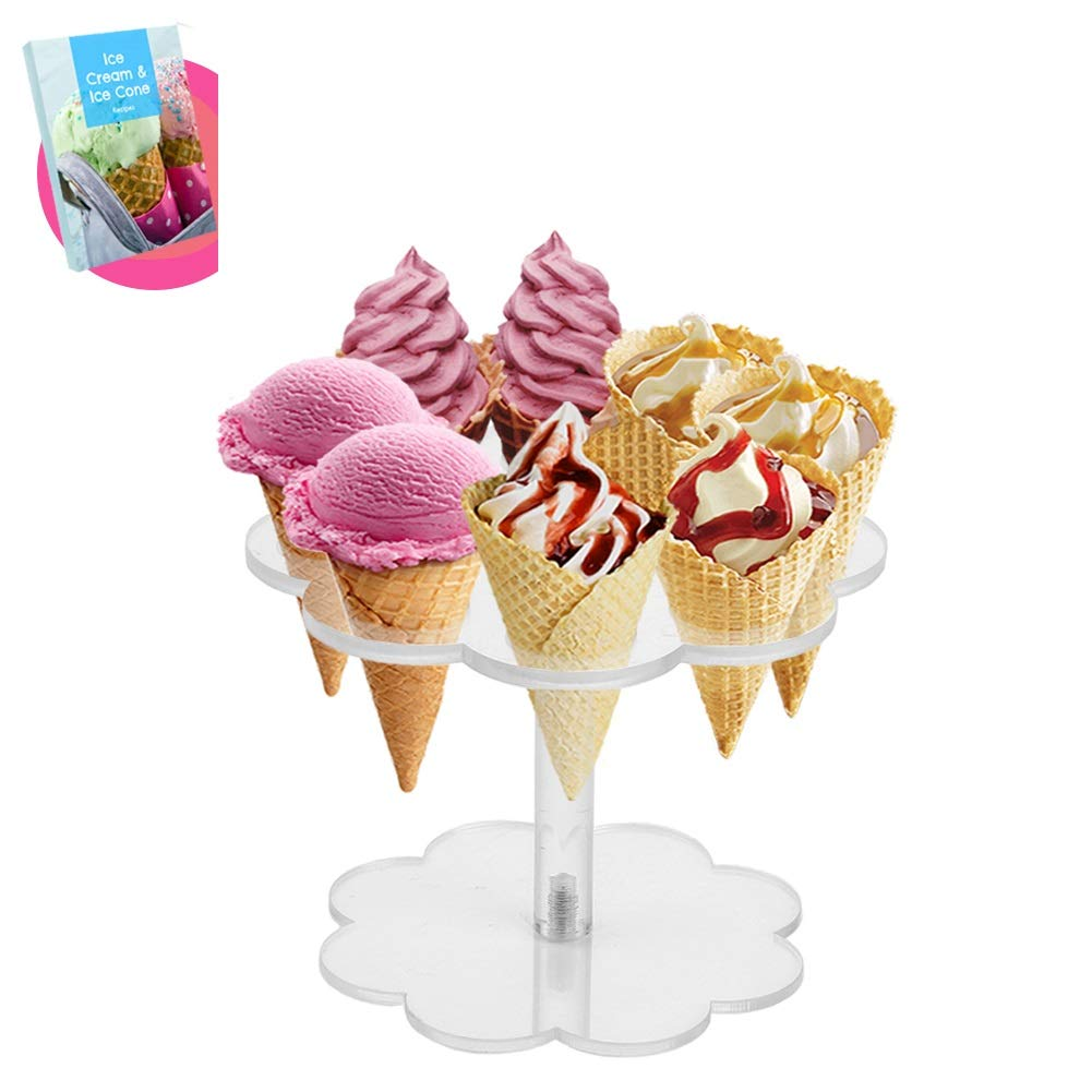 Ice Cream Cone Holder Stand with 8 Holes Capacity, Clear Acrylic Waffle Cone Holder for Mini Ice Cream Cones Snow Cone Hand Roll Sushi Popcorn Sweets Savory, Ice Cream Recipe Ebook Included