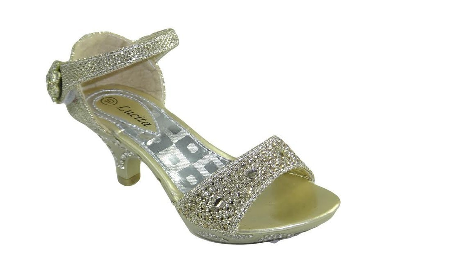 Lucita Jan 14Km Little Girls Rhinestone Heel Platform Dress Sandals JAN-14-KM