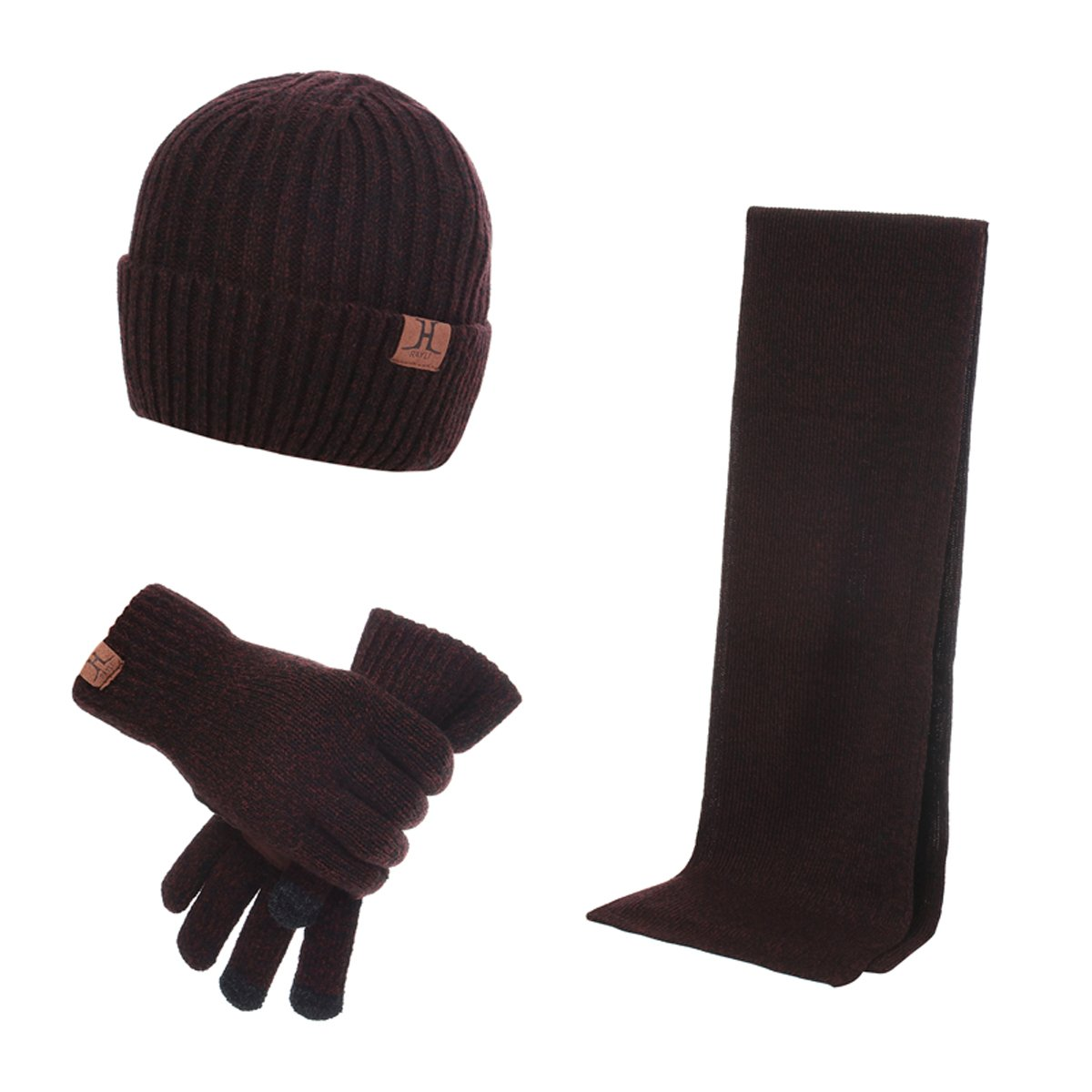 JOYEBUY Fashion Warm Winter Men 3 PCS Knitted Set Knit Hat + Long Scarf + Touch Screen Gloves One Size) 3pcsmen91