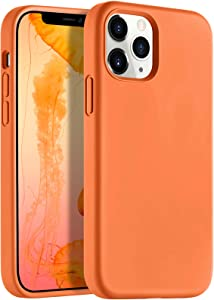 LEOMARON Compatible with iPhone 12 and iPhone 12 Pro Case 6.1 inch, Liquid Silicone Full Body Protection Cover Case with Soft Microfiber Cloth Lining for iPhone 12 and iPhone 12 Pro 2020, Orange