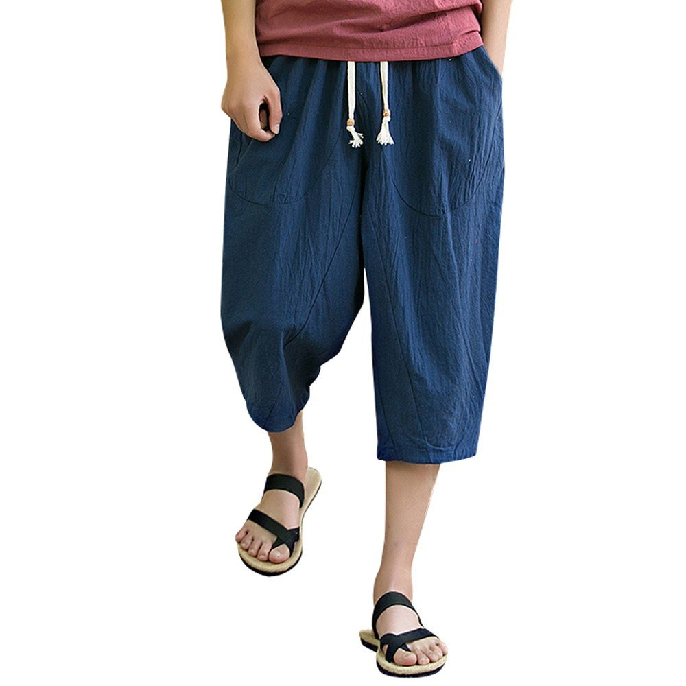 Men's Loose Capri Pants - Mens Cotton Linen Drawstring Elastic Waist Pilates Yoga Shorts - Causal Wide Leg Baggy Harem (XXXL, Navy)