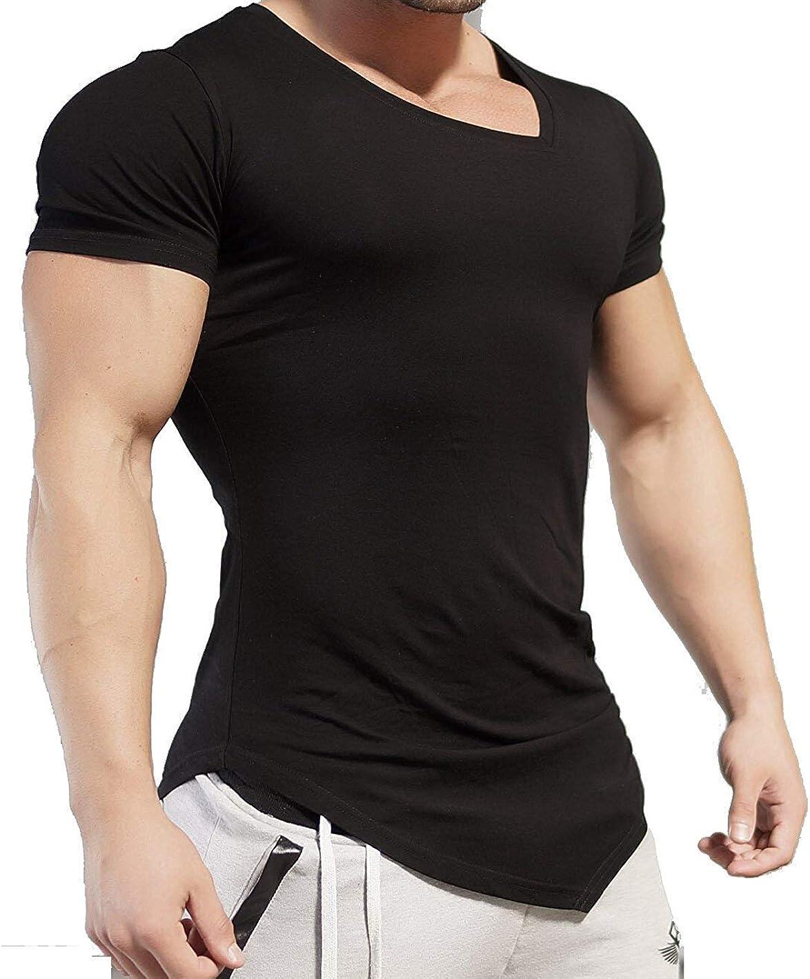 JINIDU Mens Workout Tee Short Sleeve Gym Training Bodybuilding Muscle Fitness T Shirt