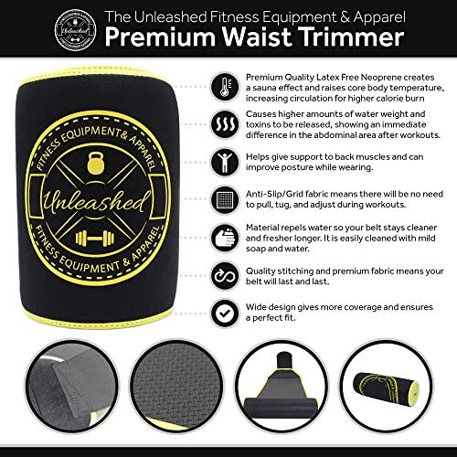 UNLEASHED Premium Waist Trimmer For Weight Loss & Fat Burning | Comfortable Neoprene Body Shaper For Men & Women | Wide & Ergonomic Slimming Corset | Improved Sweat Production & 2 Free E-Books | Black 3