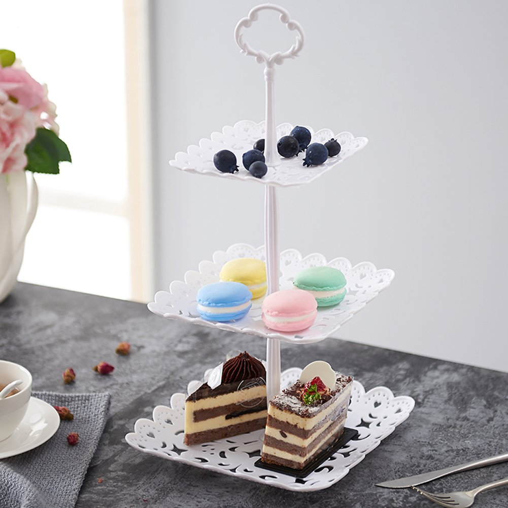 2 Set of 3-Tier Cake Stand and Fruit Plate Cupcake Plastic Stand White for Cakes Desserts Fruits Candy Buffet Stand for Wedding & Home & Birthday Party Serving Platter by Agyvvt (Image #5)