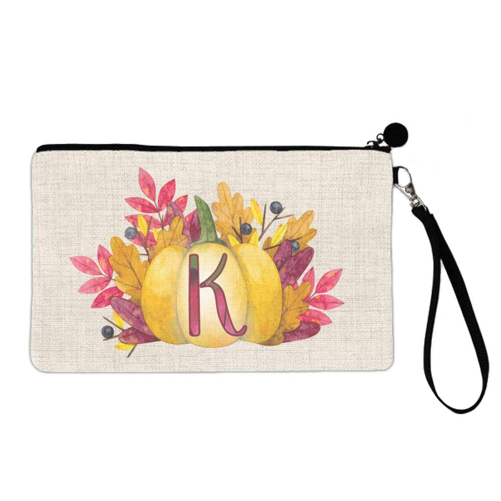 BRGiftShop Watercolor Thanksgiving Fall Autumn Pumpkin Monogram Letter K Large Linen Cosmetic Bag with Zipper