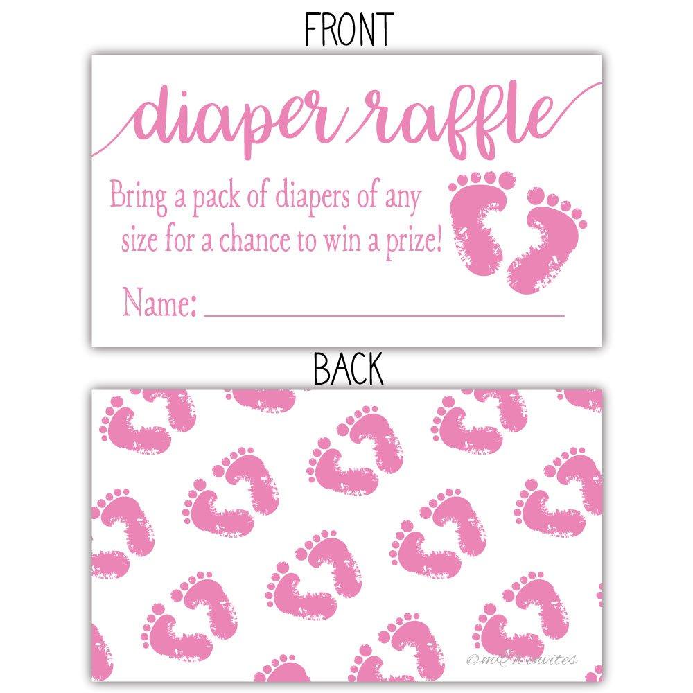 Amazon.com: 50 rosa pies de bebé pañales boletos para sorteo ...