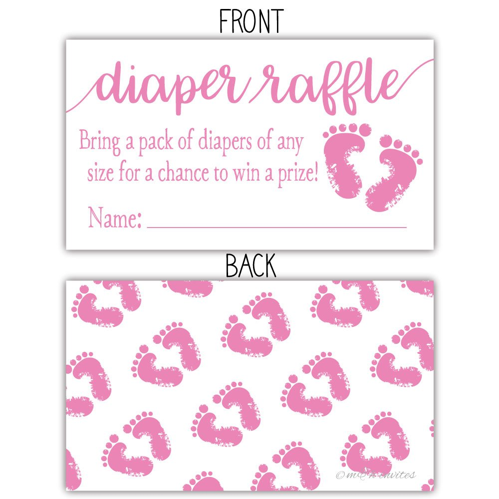 50 Pink Baby Feet Diaper Raffle Tickets - Girl Baby Shower Game by m&h invites (Image #2)