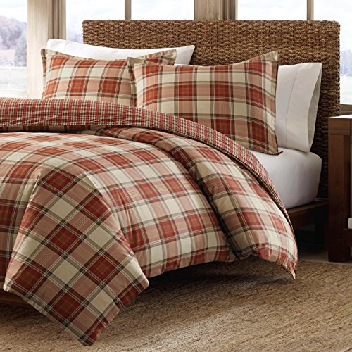 3 Piece Red Plaid King Size Duvet Cover Set, Cabin Themed Lodge Country Checkered Bedding Squared Tartan Madras Rustic Lumberjack Pattern Cottage Checked Woods, Cotton by MP (Image #1)