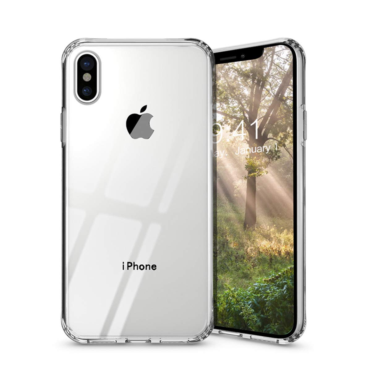 TzoMartico iPhone Xs Max Case, Metal Level Anti-Scratch, Rugged Flexible Tempered Glass Back Case, Crystal Clear Cover with Soft TPU Bumper Frame Protection for iPhone Xs Max 6.5 inches (Transparent)