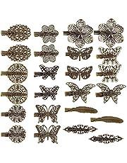 24pcs Clips Pelo Vintage Pinza Horquilla Hebilla Pasador Pelo forma Mariposas Flores Libélulas Plumas para Mujeres Chicas 12 Estilos Mezclados