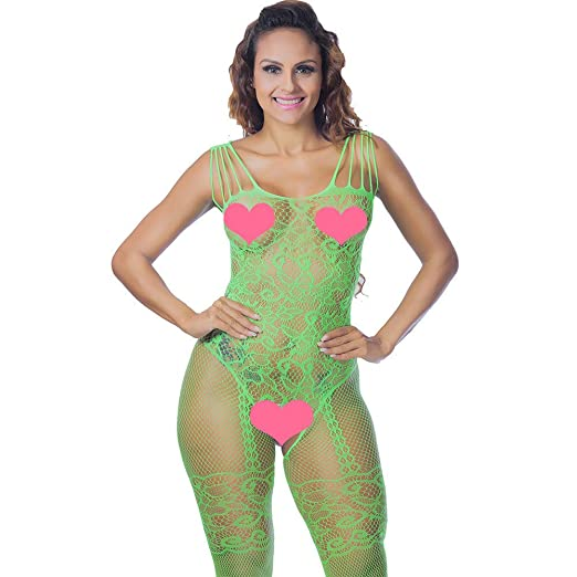 d69940717a Women s Sexy Lingerie Fishnet Floral Stretchy Crotchless Bodystockings  Teddy Babydoll Sleepwear Bodysuits (Green)