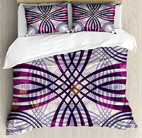 Ambesonne Art Nouveau Queen Size Duvet Cover Set, Geometric Groovy Curved Trippy Lines Vintage Artful Pattern, Decorative 3 Piece Bedding Set with 2 Pillow Shams, Purple Magenta