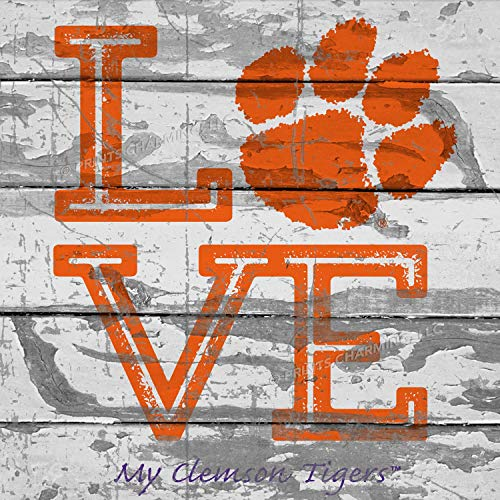 - Prints Charming College Love My Team PAW Logo Square Clemson Tigers Unframed Poster 13x13 Inches