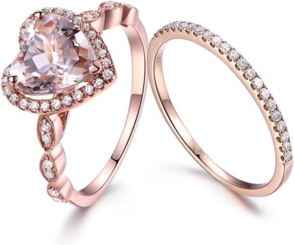 14K Rose Gold Over 2 CT Diamond Heart Shape Engagement Wedding Ring Set All Size