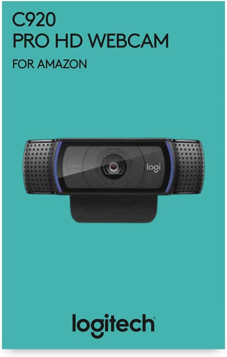 Logitech C920 HD Pro Webcam, Videoconferencias 1080P FULL HD 1080p/30 fps, Sonido Estéreo, Corrección de Iluminación HD, Skype/Google Hangouts/FaceTime, Para Gaming, Portátil/PC/Mac/Android, Negro