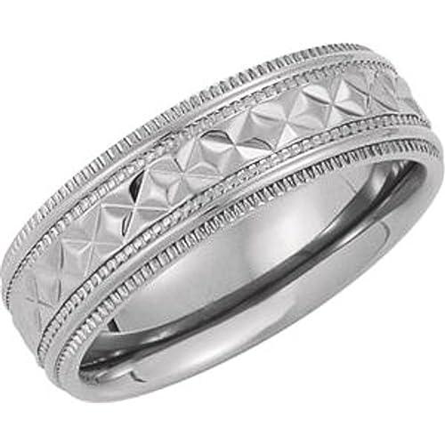Size 9.5 Bonyak Jewelry 10k White Gold 7 mm Half Round Lightweight Band