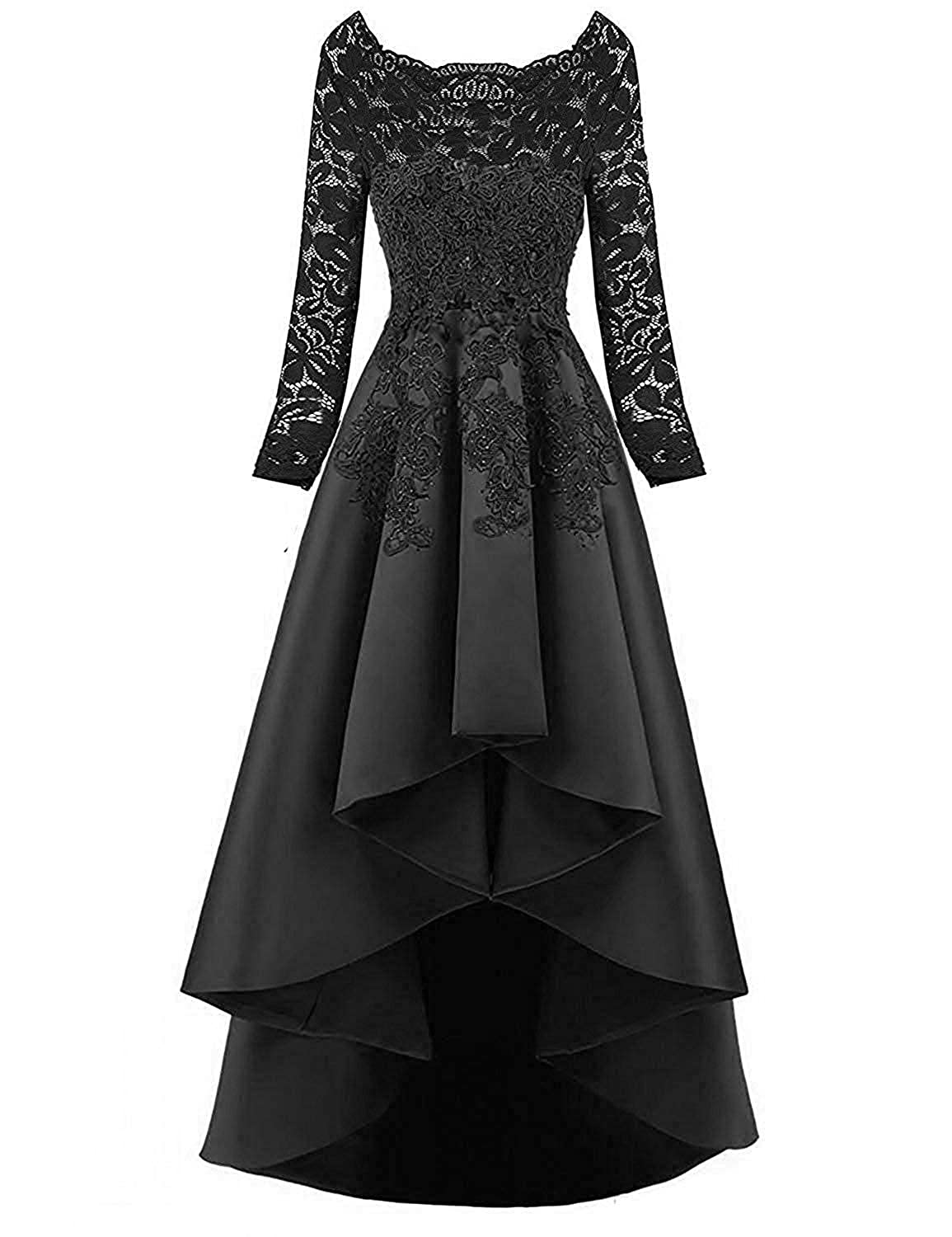 Rieshaneea Long Evening Dresses Lace Full Sleeves Formal Gown
