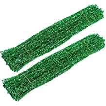 """WIWAPLEX 200pcs 12"""" X 6mm Glitter Tinsel Creative Arts Chenille Stems Sparkle Pipe Cleaners for DIY Craft Projects (Green)"""