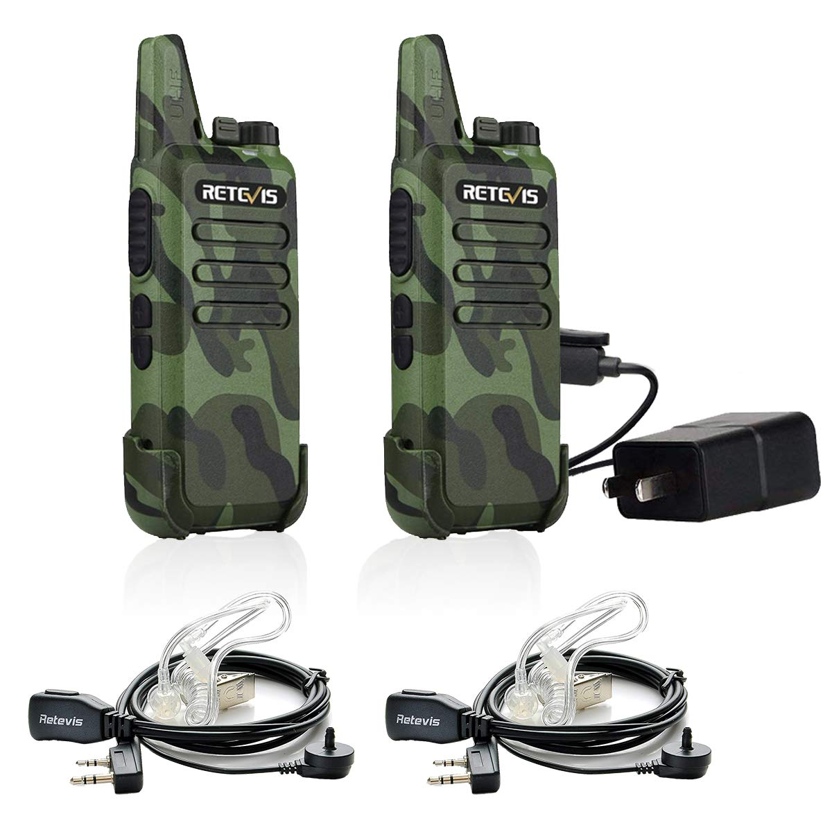 Retevis RT22 Walkie Talkies FRS Rechargeable UHF 16 CH VOX Emergency Security Outdoor 2 Way Radios with Earpiece 2 Pin Covert Air Acoustic ( 2 Pack) by Retevis