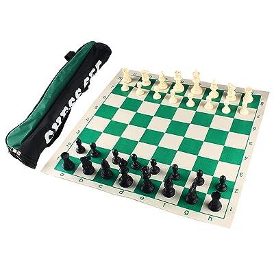 Andux Torneo Juego de ajedrez -Enrollar Tablero de ajedrez con 32 Piezas de ajedrez y Tablero de ajedrez Bolso XQTZ-01 (42x42cm): Juguetes y juegos