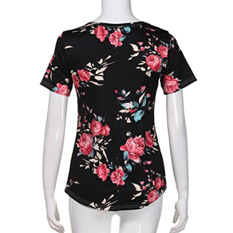 Amazon.com: T Shirts for Womens, FORUU Summer Casual Floral Print V Neck Tops Blouses Tees: Clothing