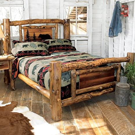 Amazon Com Log Bed Frame With Cutout Country Western Cabin