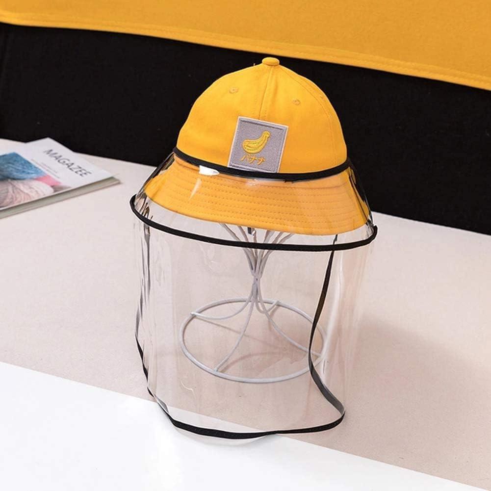 BWJL Excelente Casco Anti-escupir con una Cara extraíbles de plástico Transparente, Sun del Casquillo del Sombrero del tapón Antipolvo Fischer escupió niñas,Amarillo
