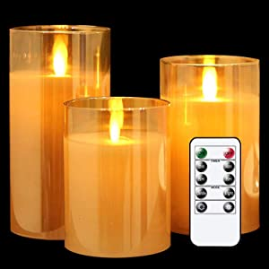 GenSwin LED Flameless Flickering Battery Operated Candles with Remote Timer, Real Wax Moving Wick Pillar Glass Candles for Festival Wedding Christmas Home Party Decor(Gold, Pack of 3)
