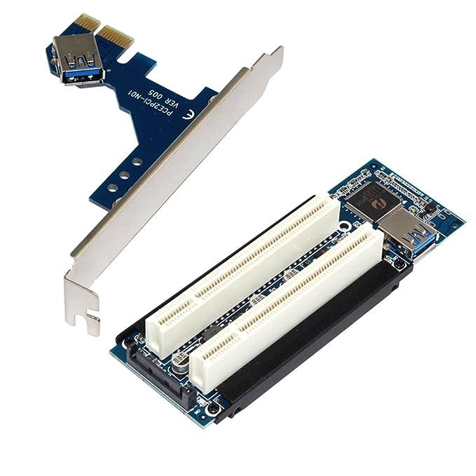 Accesorios Tarjetas de memoria MagiDeal PCI-E Express X1 A Dual PCI Riser Extender Adaptador de Tarjeta con Cable USB 3.0 Herramientas