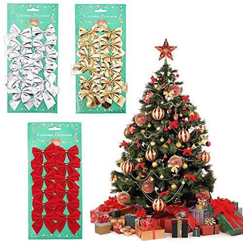 Kalolary 36PCS Christmas Bows Festival Bowknot Christmas Tree Decorations, Christmas Ribbon Bows Christmas Tree Decoration Ornaments for Christmas Party Decoration Home Decor (Red, Gold, Silver) from Kalolary