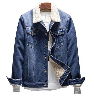 Haroty Hombres Chaqueta de Vaquero Otoño Invierno Manga Larga Casual Abrigo Cálido Denim Jacket Outwear (