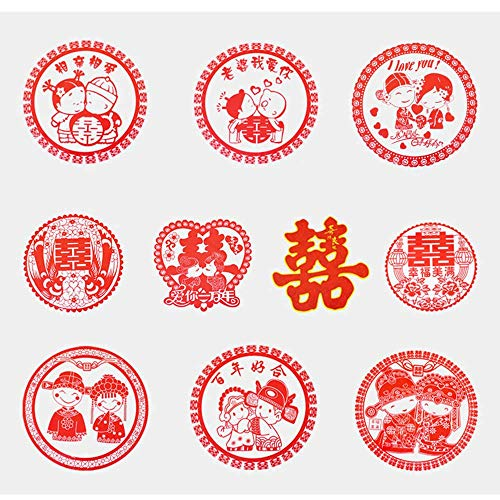 Recommended Good quality Wedding Supplies Wedding hi Word electrostatic Stickers Wedding Room Decoration Wedding Layout hi Word Stickers Glass Cartoon Stickers Window Flower Ten Styles [20 Pack]