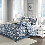 Cape Cod 7 Piece Cotton Sateen Comforter Set Blue Queen