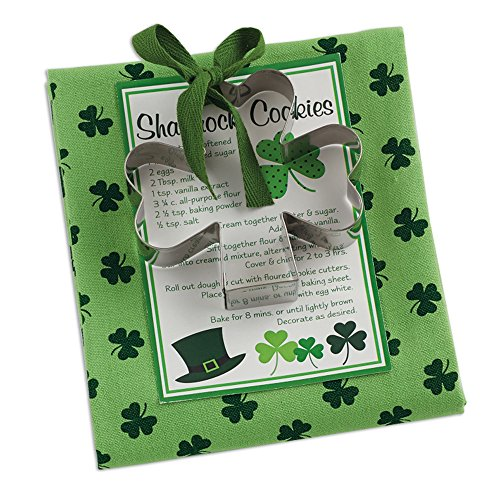 DII St. Patrick's Day 18x28 Printed Dish Towel Set with Lucky Shamrock Cookie cutter Gift Set, Perfect Holiday Home Kitchen Gift, Housewarming and Hostess - Patty Cookie St Cutter