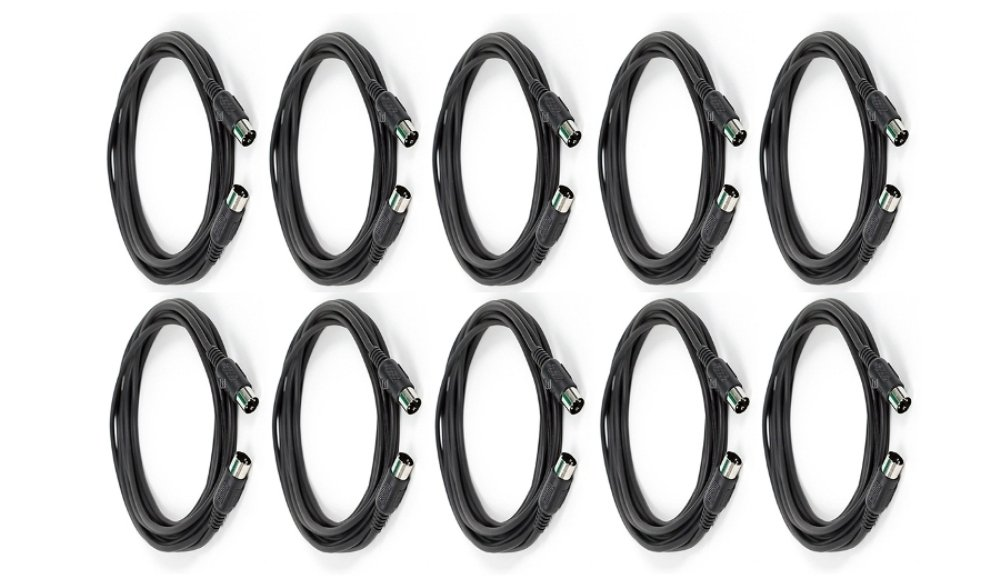 MIDI Cable with 5 Pin DIN Plugs 15 Feet (ft) Black (10 Pack) by C&E