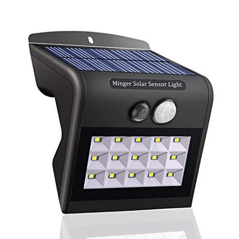 Luz LED de pared con panel solar de Minger, con sensor de movimiento, luces