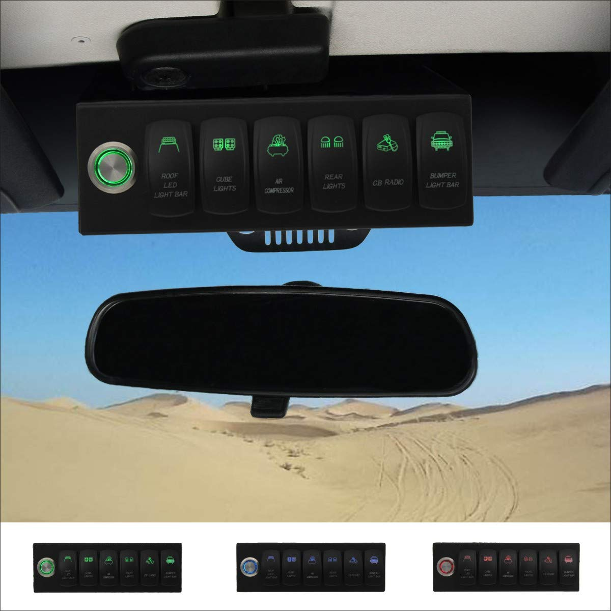 Apollointech Jeep Wrangler JK & JKU 2007-2018 Overhead 6-Switch Pod/Panel in Green Backlight with Control and Relay Box (Comes with 12 Laser Switch Covers) by ApolloIntech