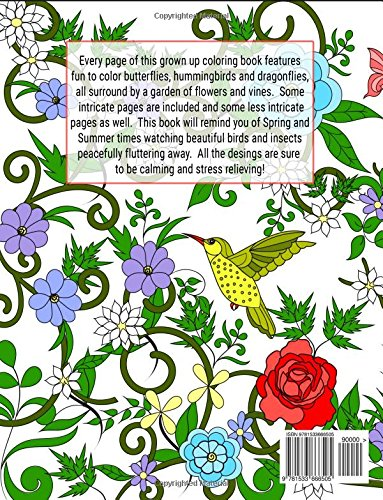 dragonflies hummingbirds and butterflies enchanted wings in a garden of flowers coloring book for adults adult coloring patterns volume 46 mindful - Hummingbird Flower Coloring Pages