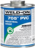 Weld-On 705 10089, Industrial Grade, Plumbing Cement, Medium-Bodied, Fast-Setting, 1 quart, Can with Applicator Cap Clear