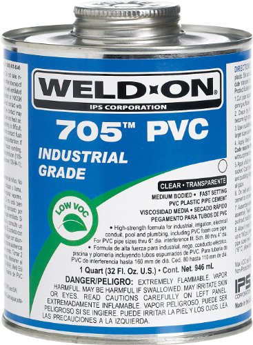 Pvc Primer (Weldon 705 10097 Industrial Grade Plumbing Cement Medium-Bodied Fast-Setting, 1/2 pint, Clear)