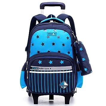 Trolley Bag Fille Cadeaux Rentr/ée Scolaire Sac /à Dos avec roulettes Cartable Roulette Bagages Cabine Voyage Primaire Maternelle Sac a Dos Enfant AC Roues Amovibles Noir 2 Roues